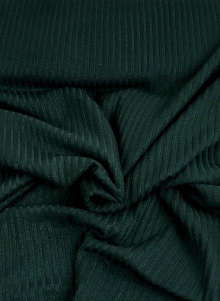 donkergroen geribbeld - stevige viscose tricot