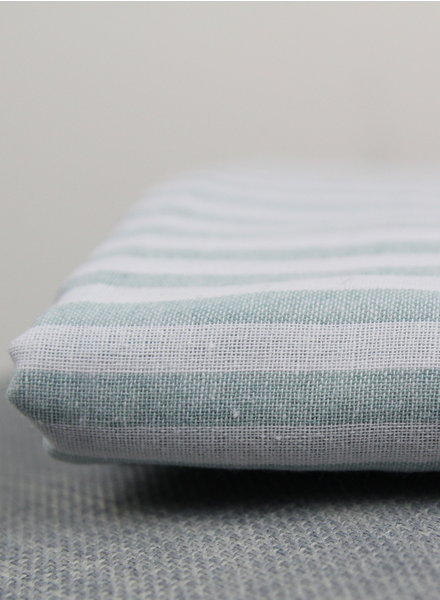 250 cm - mint washed linnen mix stripes