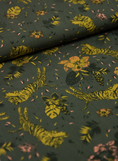 tigers and flowers - viscose