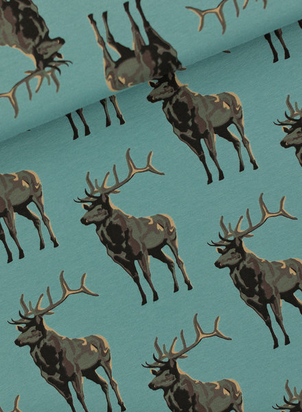 See You at Six Deer - French Terry - Trellis Blauw