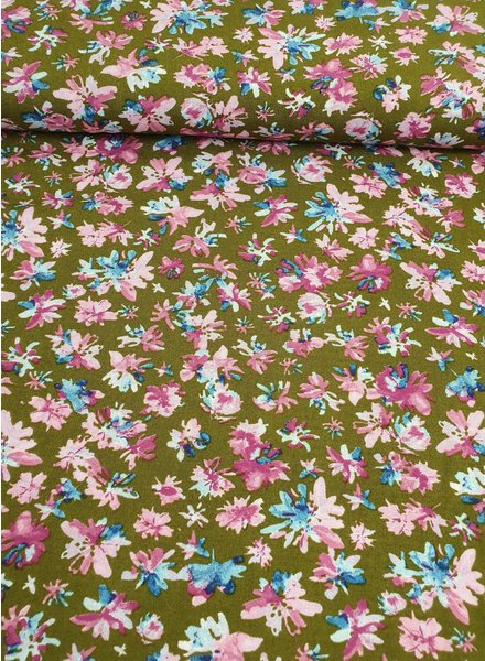 roos met kaki bloemen - viscose