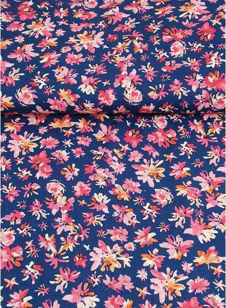 pink blue flowers - viscose