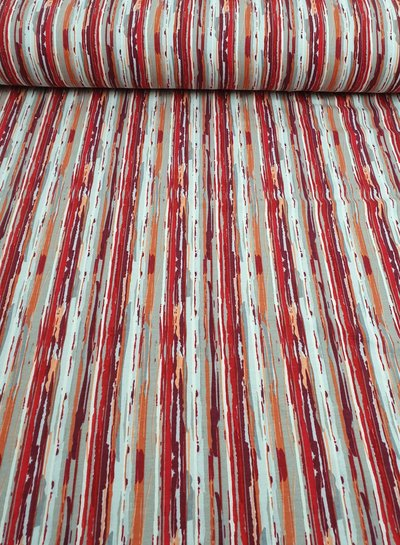 red modern stripes - french terry