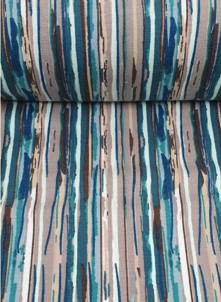petrol modern stripes - French terry