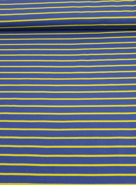 ocher and petrol stripes - French terry