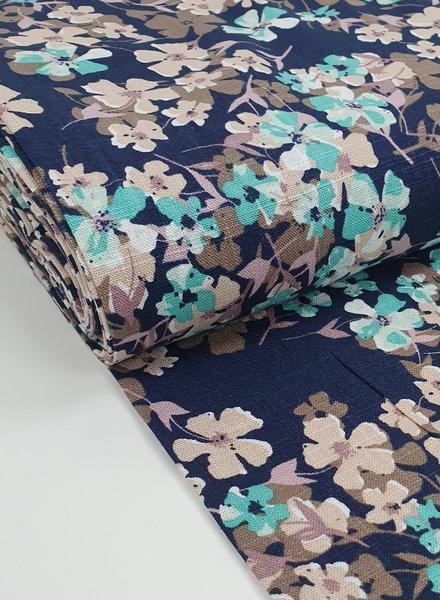 navy blue and mint flowers - linen viscose mix