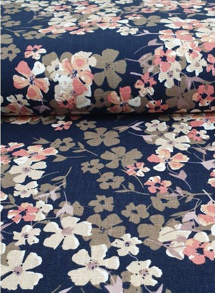 blauw en roze bloemen - linnen viscose mix