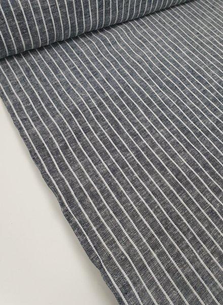 dark denim stripes - coton linen