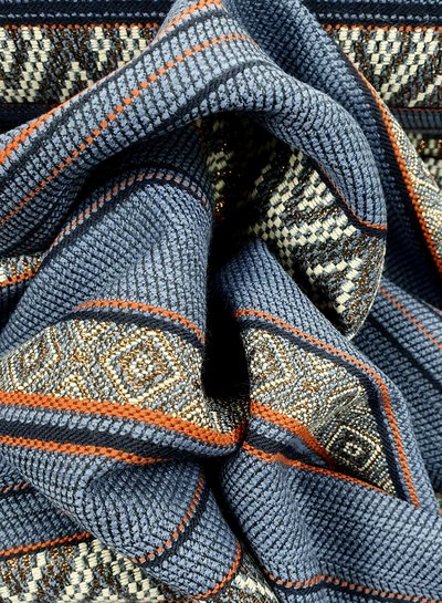 copper and blue - woven  jacquard