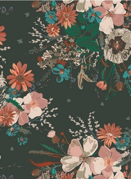 ART GALLERY FABRICS spirited petrol flowers - cotton