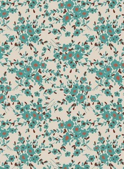 ART GALLERY FABRICS spirited flowers turquoise - katoen