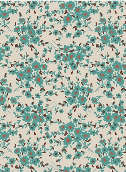 ART GALLERY FABRICS spirited flowers turquoise - cotton