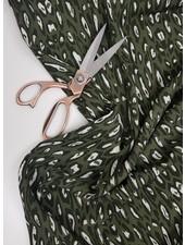 khaki luipaard  - viscose - Italian quality