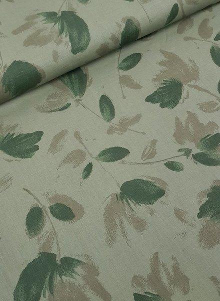 khaki leaves - Italiaanse linnen