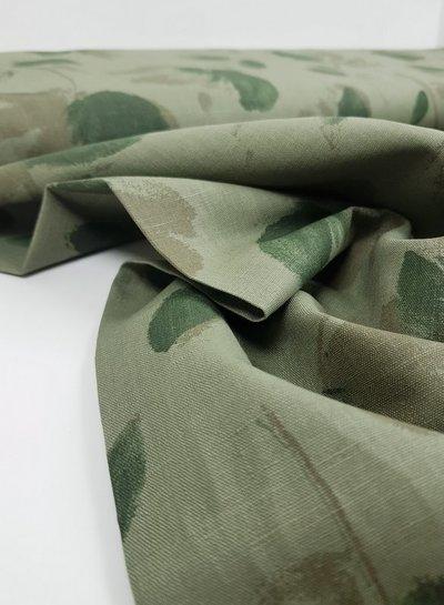 khaki leaves - Italian linen
