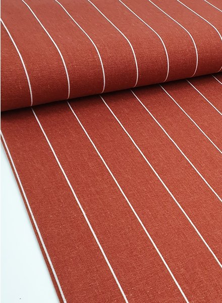 rust wide stripes - linen viscose