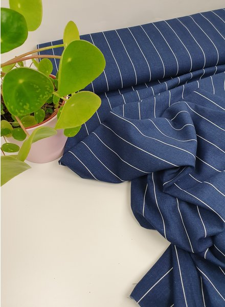 navy wide stripes - linen viscose