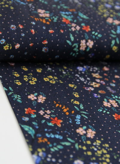 navy colored flowers - viscose