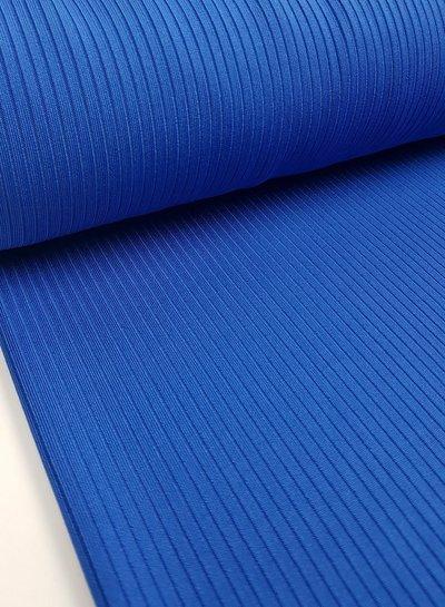 Fibremood kobalt dunne geribbelde structuur tricot