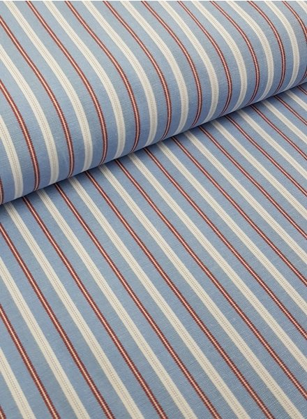 blue / burgundy stripes - cotton mix