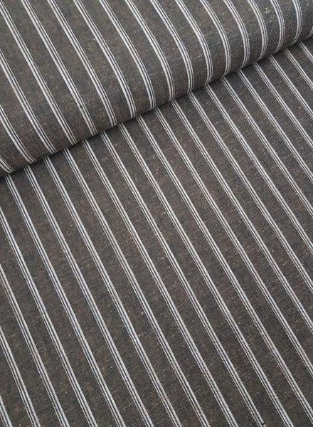 brown stripes - linen cotton mix