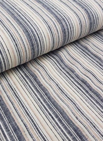 navy / natural stripes - linen cotton mix