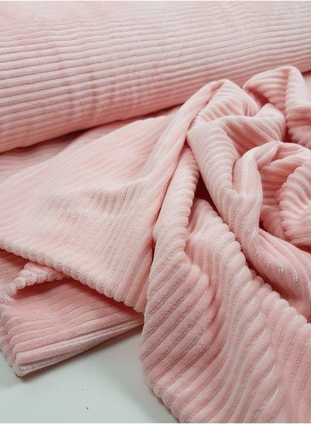 roze - rekbare corduroy - 100% katoen