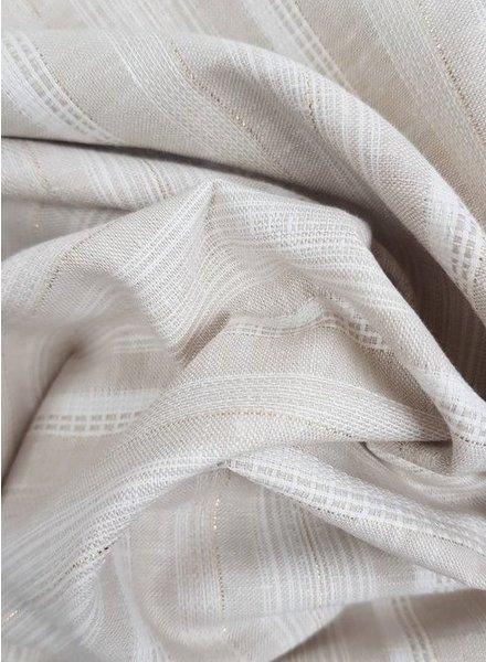 beige streepjes met lurex - linnen