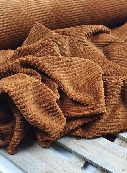 cognac - stretch corduroy - 100% cotton