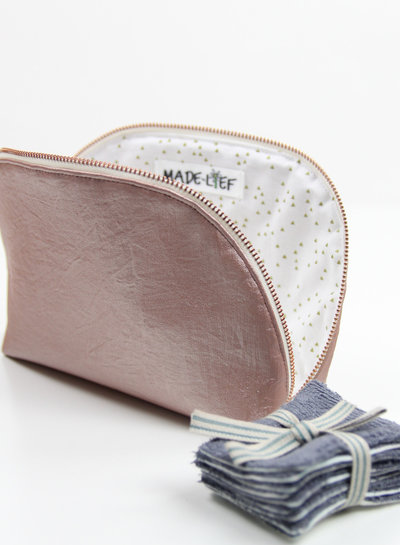 wrinkled pink - vegan metallic faux leather