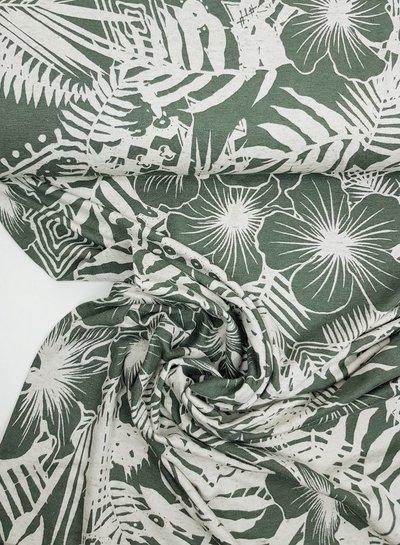 green leaves - viscose jersey