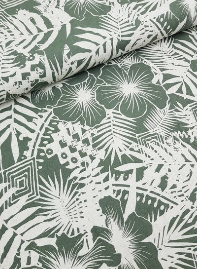 green leaves - viscose tricot
