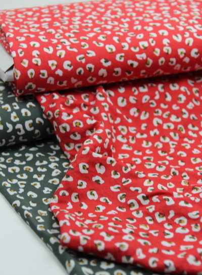 rood luipaard - viscose tricot