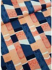 navy bricks - viscose linen look