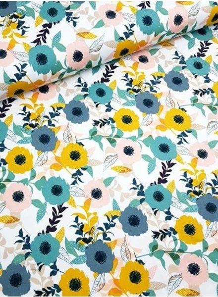 fresh flowers - stretch cotton