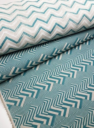 green stripes chevron - deco fabric with linen look