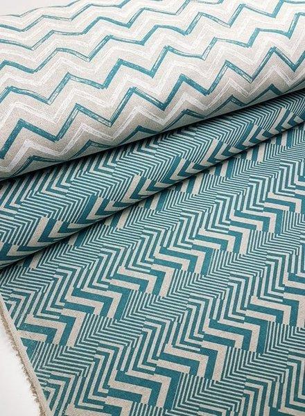 groen chevron strepen - decostof met linnen look