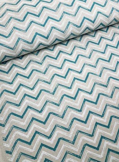 green/white chevron - deco fabric with linen look