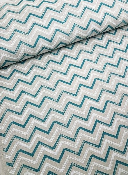 green/white chevron - deco fabric with linen look