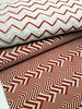 rusty/white chevron - deco fabric with linen look
