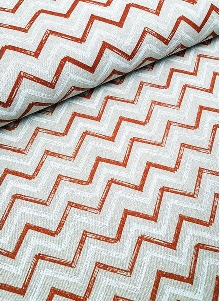 roest/wit chevron motief - decostof met linnen look