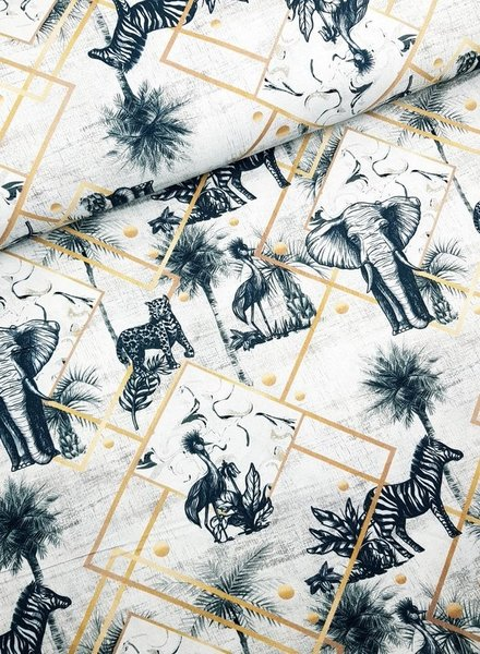 panama printed animals - deco fabric