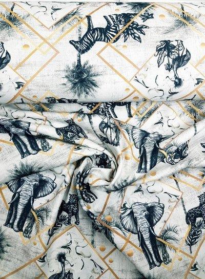 panama printed animals - deco fabric