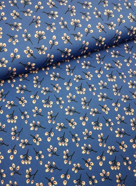 blue twigs - viscose tricot