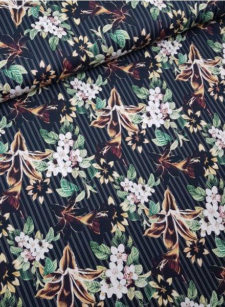Martha's flowers  -stretch cotton