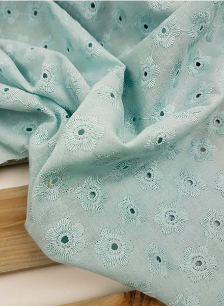 mint embroidered flowers - cotton