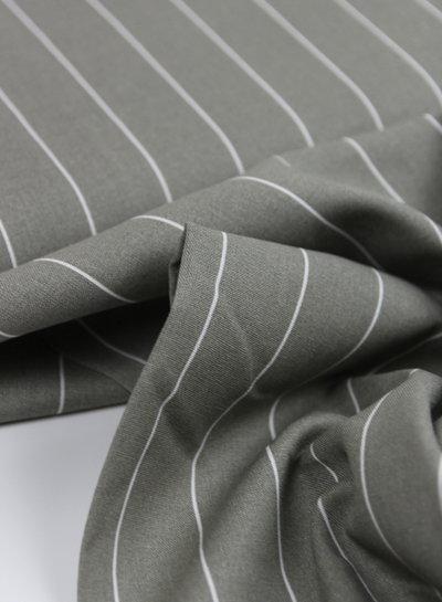 grey wide stripes - linen viscose