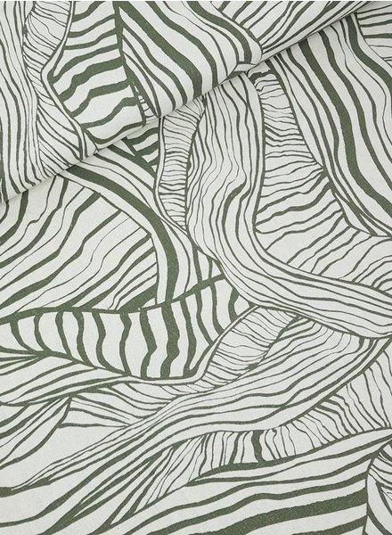khaki rustic lines - linen viscose