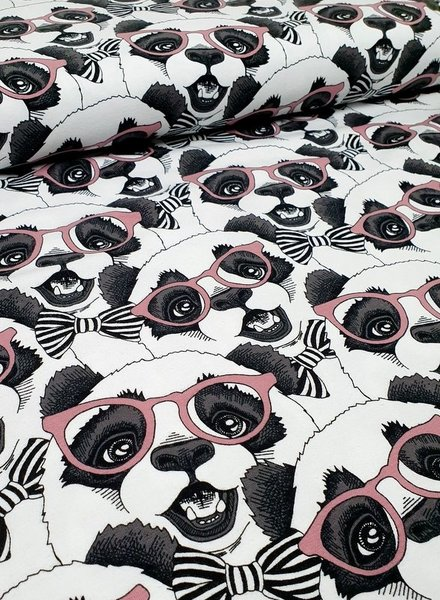panda with glasses dusty pink - tricot