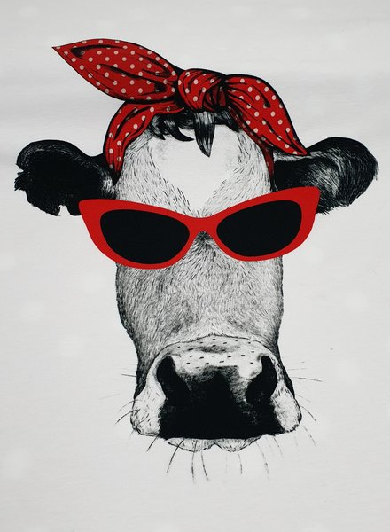 cow with an attitude - jersey  panel 65 cm